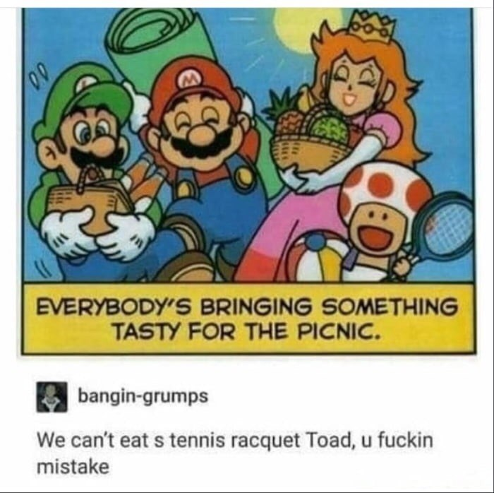 Cartoon - EVERYBODY'S BRINGING SOMETHING TASTY FOR THE PICNIC. bangin-grumps We can't eat s tennis racquet Toad, u fuckin mistake
