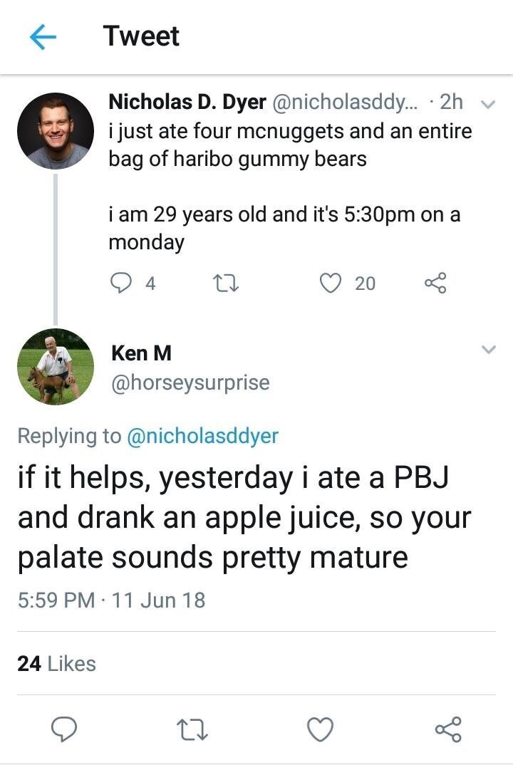 Text - Tweet Nicholas D. Dyer @nicholasddy... 2h i just ate four mcnuggets and an entire bag of haribo gummy bears i am 29 years old and it's 5:30pm monday on a 4 20 Ken M @horseysurprise Replying to @nicholasddyer if it helps, yesterday i ate a PBJ and drank an apple juice, so your palate sounds pretty mature 5:59 PM 11 Jun 18 24 Likes