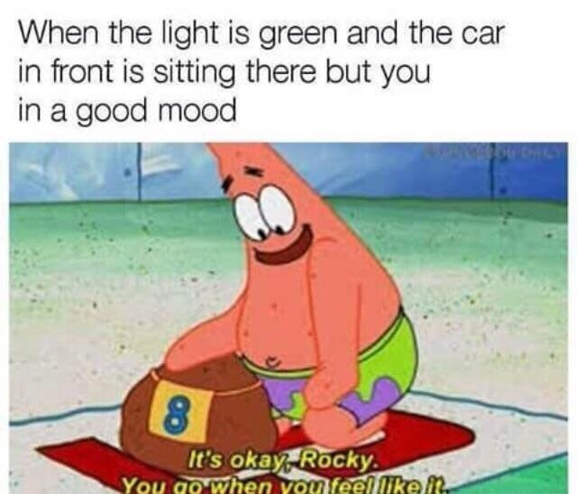 Cartoon - When the light is green and the car in front is sitting there but you in a good mood It's okay, Rocky You go when you feel like it.
