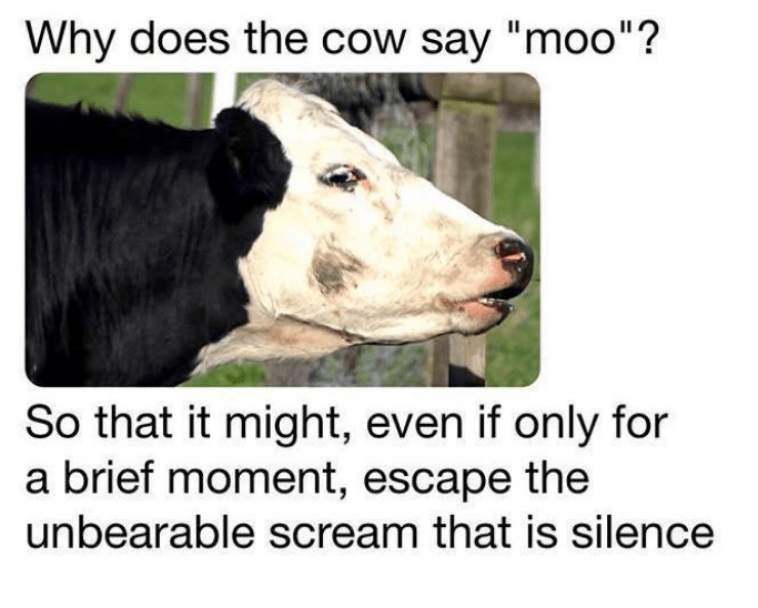 "Bovine - Why does the cow say ""moo""? So that it might, even if only for a brief moment, escape the unbearable scream that is silence"