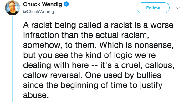 Text - Chuck Wendig @ChuckWendig Follow A racist being called a racist is a worse infraction than the actual racism somehow, to them. Which is nonsense, but you see the kind of logic we're dealing with here -- it's a cruel, callous, callow reversal. One used by bullies since the beginning of time to justify abuse.