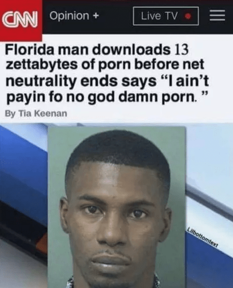 "Hair - Live TV CAN Opinion Florida man downloads 13 zettabytes of porn before net neutrality ends says ""I ain't payin fo no god damn porn."" By Tia Keenan Lilbottomtext"