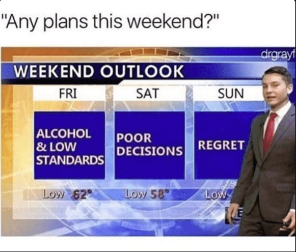 "Text - ""Any plans this weekend?"" drgrayf WEEKEND OUTLOOK FRI SAT SUN ALCOHOL &LOW STANDARDS POOR DECISIONS REGRET Low 58 LOW Low 62"