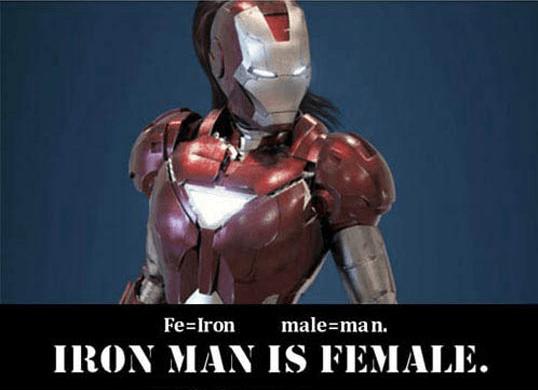 Superhero - male man. IRON MAN IS FEMALE. Fe-Iron