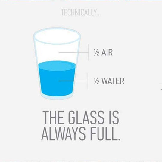Text - TECHNICALLY. 2 AIR /½ WATER THE GLASS IS ALWAYS FULL