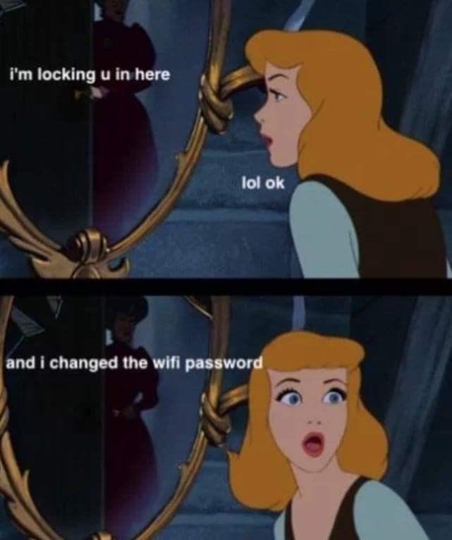 Disney memes - Cartoon - i'm locking u in here lol ok and i changed the wifi password |(C