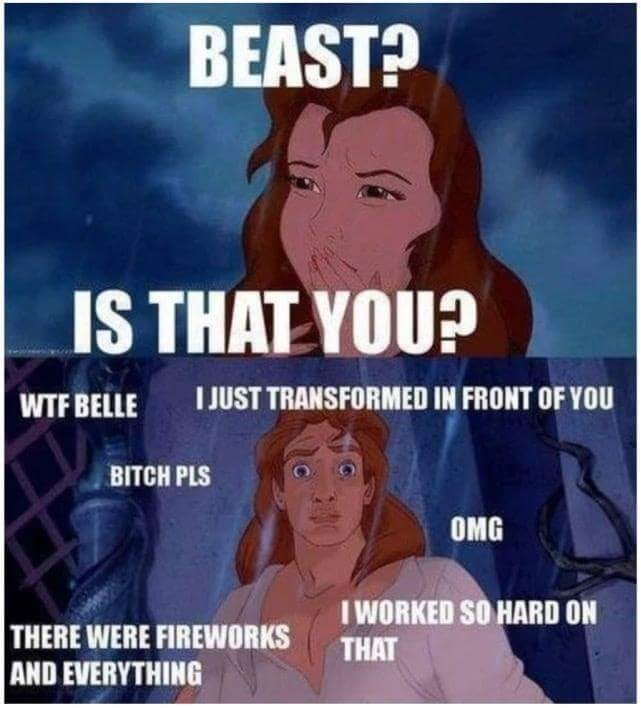 meme - Cartoon - BEAST? IS THAT YOU? JUST TRANSFORMED IN FRONT OF YOU WTF BELLE BITCH PLS OMG IWORKED SO HARD ON THAT THERE WERE FIREWORKS AND EVERYTHING