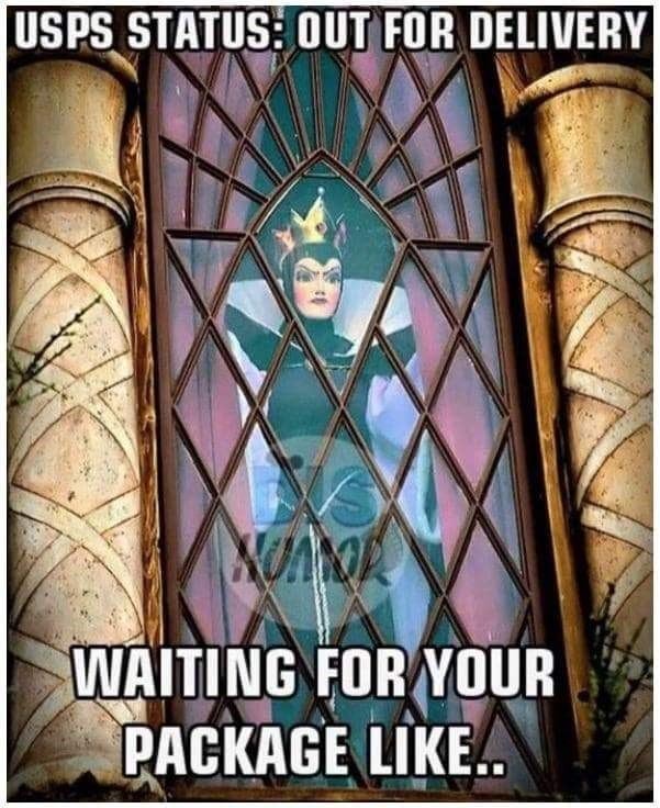 meme - Stained glass - USPS STATUS: OUT FOR DELIVERY WAITING FOR YOUR PACKAGE LIKE.