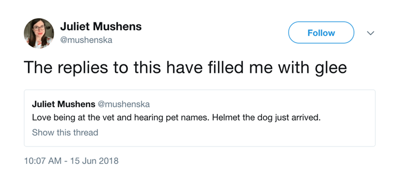 Text - Juliet Mushens Follow @mushenska The replies to this have filled me with glee Juliet Mushens @mushenska Love being at the vet and hearing pet names. Helmet the dog just arrived. Show this thread 10:07 AM 15 Jun 2018