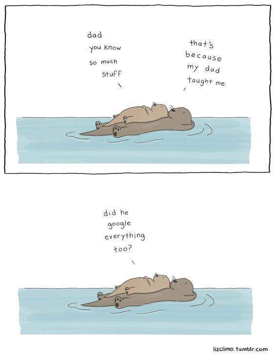 father's day animals - Text - dad that's you know because So much my dad stuff taught me. did he google everything too? lizclimo. tumblr.com