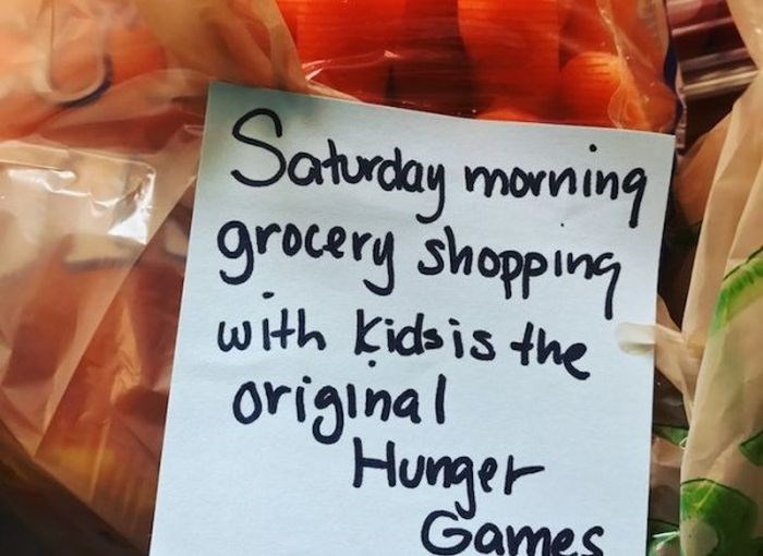 Local food - Saturday monning grocery shopping wth Kidsis the original Hunger Games