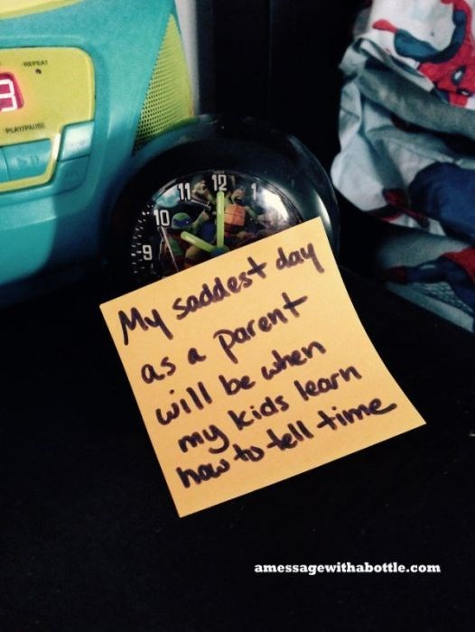 Text - PLAYIPAS 12 10 9 My saddest day Parent will be when my kids learn has to lell time as a amessagewithabottle.com
