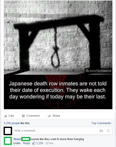 Text - fb.com/factsweird Japanese death row inmates are not told their date of execution. They wake each day wondering if today may be their last. Like Comment Share 5,295 people like this. Top Comments Write a comment... Sounds like they want to leave them hanging Stuart Unlike Reply - 1,233 22 hrs