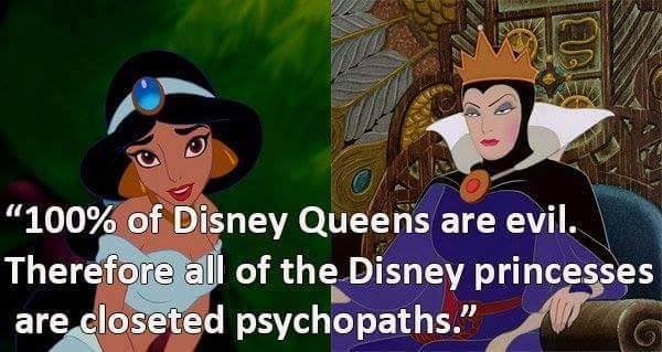 """Animated cartoon - """"100% of Disney Queens are evil. Therefore all of the Disney princesses are closeted psychopaths."""""""