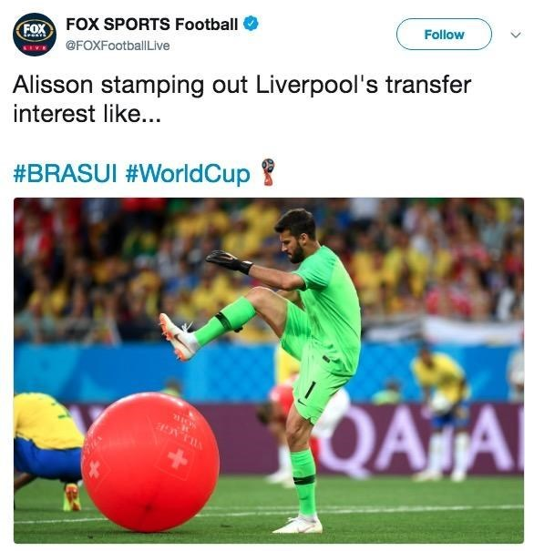 """Alisson stamping out Liverpool's transfer interests like..."""