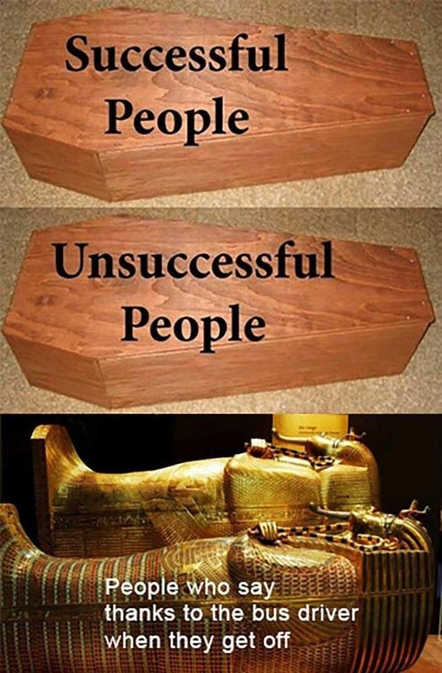 Font - Successful Реople Unsuccessful Реople People who say thanks to the bus driver when they get off