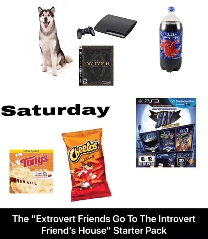 """Product - OBLIVION Saturday PS3 PlayStation Move AUCTIO Tony'sees Crunchy 3D CHEESE PIZZA The """"Extrovert Friends Go To The Introvert Friend's House"""" Starter Pack EMOLAMARAMT-"""
