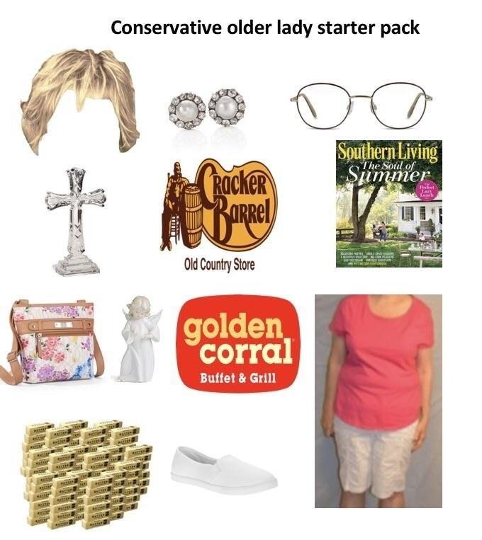 Font - Conservative older lady starter pack Southern Living The Soul Shmmer ROckeR ticka Old Country Store golden corral Buffet&Grill estar re