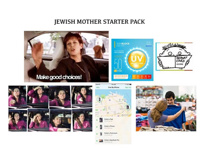 Overbearing Jewish mother starter pack meme