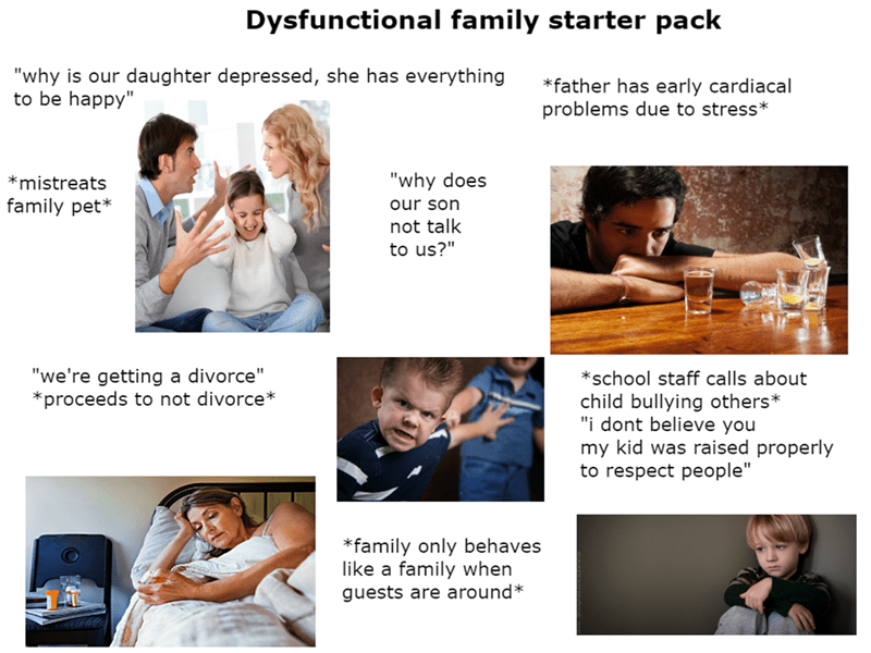 """Text - Dysfunctional family starter pack """"why is our daughter depressed, she has everything to be happy"""" *father has early cardiacal problems due to stress* """"why does mistreats family pet* our son not talk to us?"""" """"we're getting a divorce"""" proceeds to not divorce* *school staff calls about child bullying others* """"i dont believe you my kid was raised properly to respect people"""" family only behaves like a family when guests are around*"""