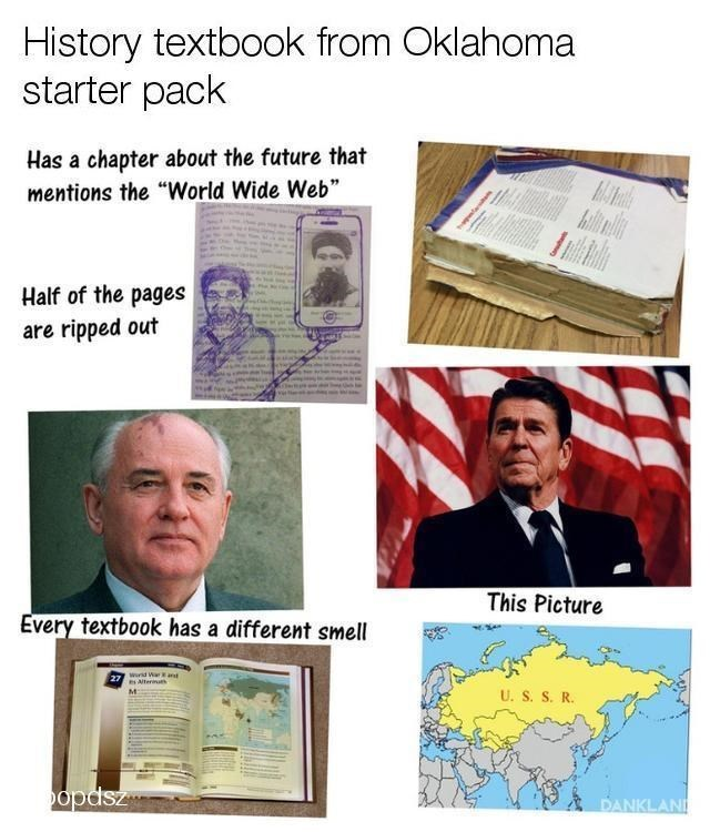 """Paper - History textbook from Oklahoma starter pack Has a chapter about the future that mentions the """"World Wide Web"""" Aallal Half of the pages are ripped out This Picture Every textbook has a different smell ward War ad es Alternath U. S. S. R. opdsz DANKLAND"""