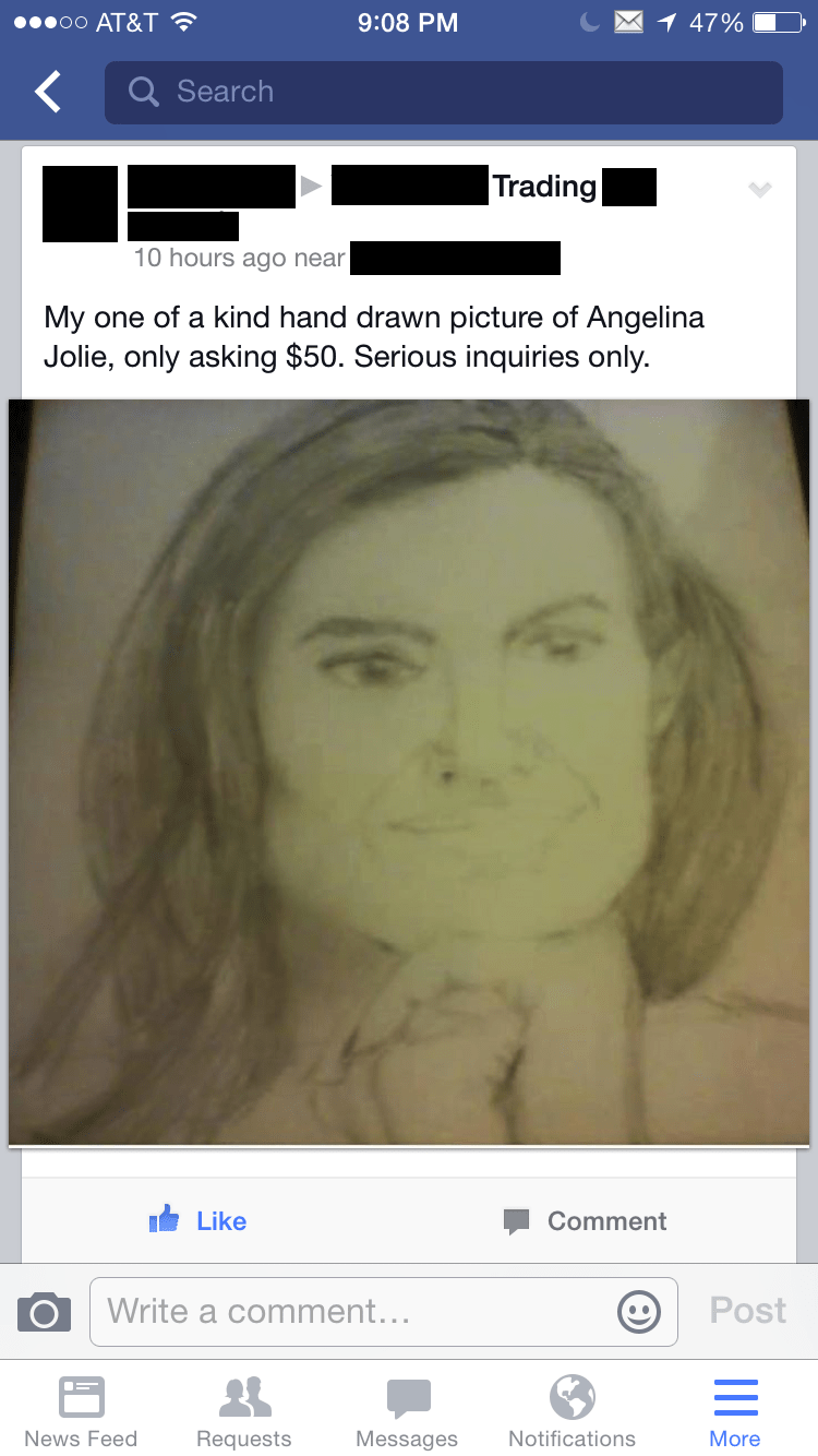 Facebook marketplace meme selling a hand drawn pic of Angelina Jolie