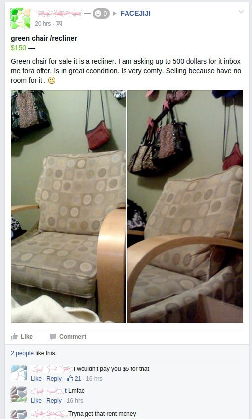 Facebook marketplace meme selling an old looking chair