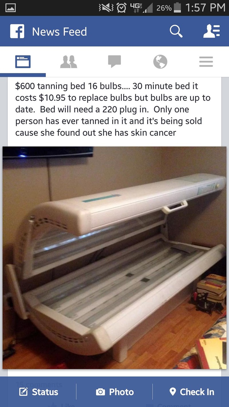 Facebook marketplace meme selling a tanning bed