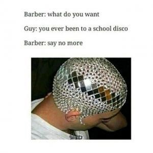 barber meme with pic of man with disco ball shards glued to his head