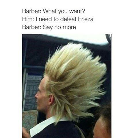 barber meme with pic of man with super saiyan hair