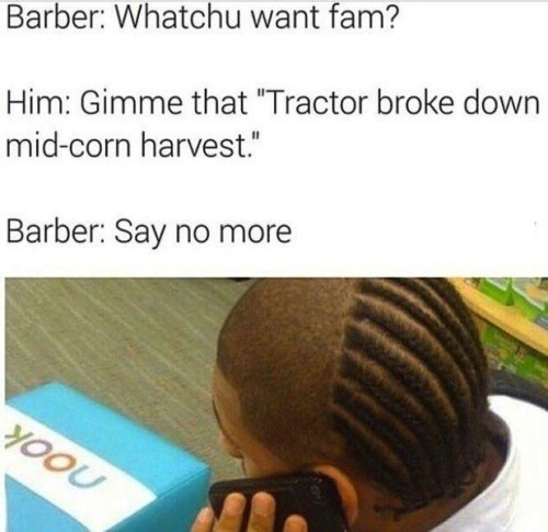 barber meme about getting a half done haircut