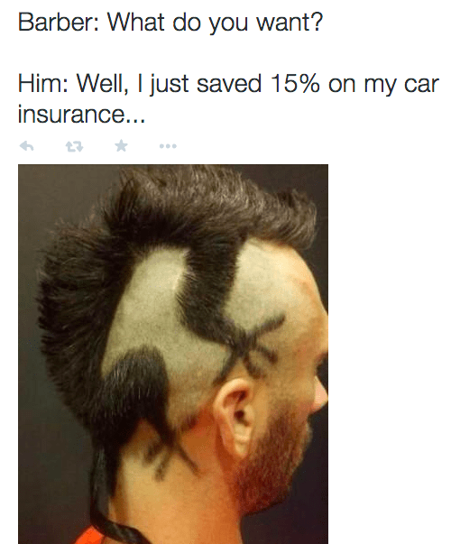 barber meme about getting a Geico Insurance inspired haircut