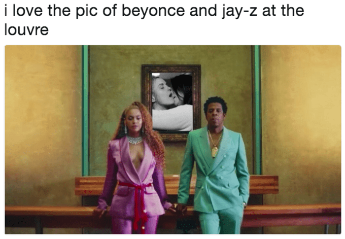 Meme of Beyonce and Jay Z in front of a photo of two lesbians