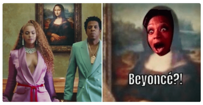 """Meme of Beyonce and Jay Z in front of the Mona Lisa with an image next to it of New York's face screaming """"Beyonce"""""""