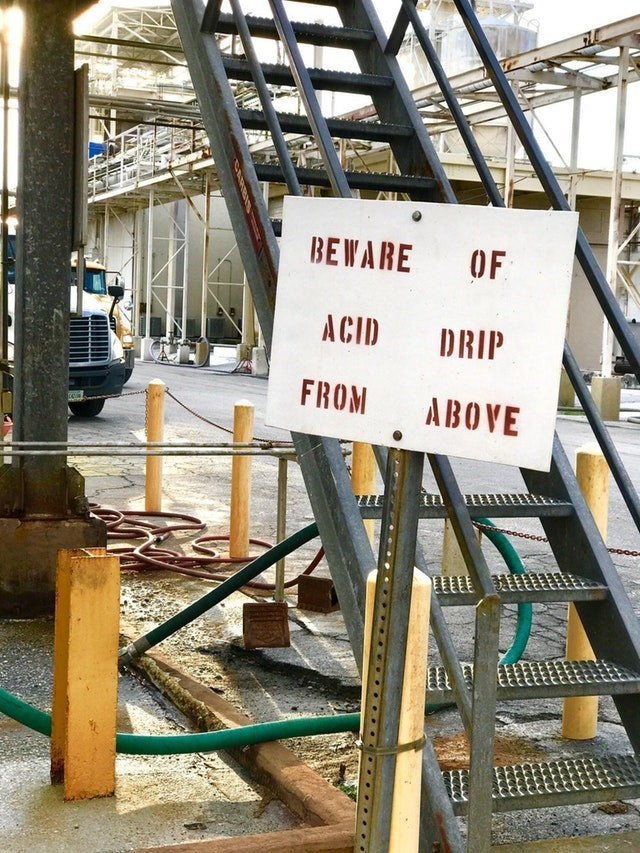 Architecture - BEWARE OF ACID DRIP FROM ABOVE
