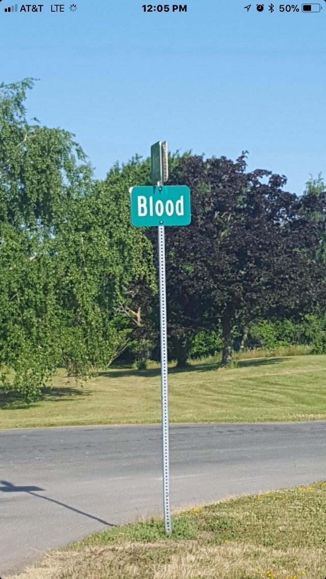 Street sign - 0 50%0 l AT&T LTE 12:05 PM Blood