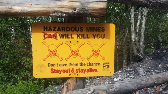 Nature reserve - HAZARDOUS MINES CAN WILL KILL YOU Don't give them the chance. Stay out&stay alive.