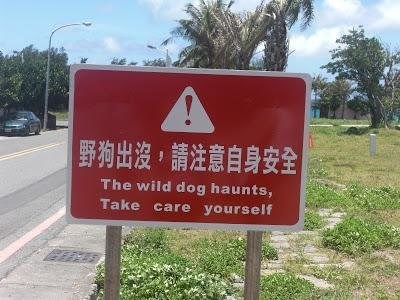 Sign - 野狗出沒,請注意自身安全 The wild dog haunts, Take care yourself