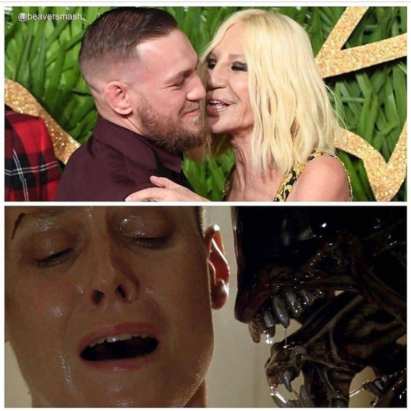 Funny meme comparing tom hardy being kissed by donatella versace to sigourney weaver with alien.