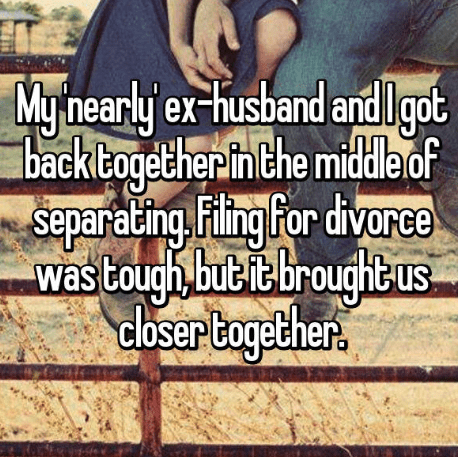 Text - Mynearly e and lgot ex-husband getherin the middle of Separating,Filing for divorce Was tough but iebroughtus dloser togelher. back to us
