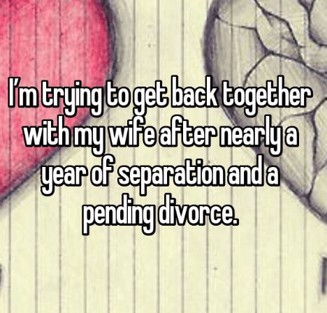 Text - intrying boget back together withmywife fternearlya year of separation anda pencdingdivarce. I'm