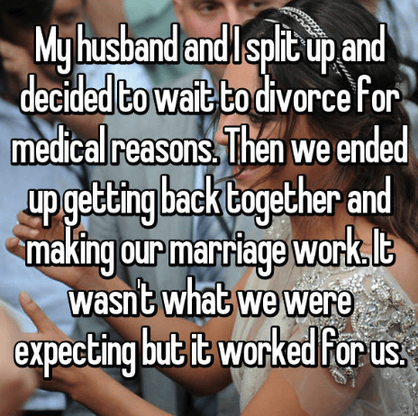 Text - Myhusband andlsplit up and decided Co wait to divorce For medical reasons Then we ended upgetting back together and making our marriage work le WoN wasnt what we were expecting but it worked for us