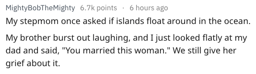 """Text - MightyBobTheMighty 6.7k points 6 hours ago My stepmom once asked if islands float around in the ocean. My brother burst out laughing, and I just looked flatly at my dad and said, """"You married this woman."""" We still give her grief about it"""