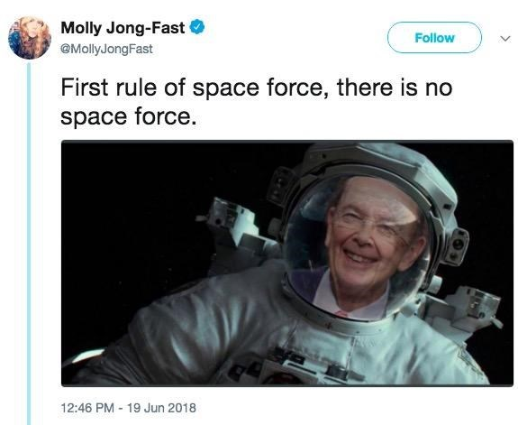 Tweet about how there is no space force