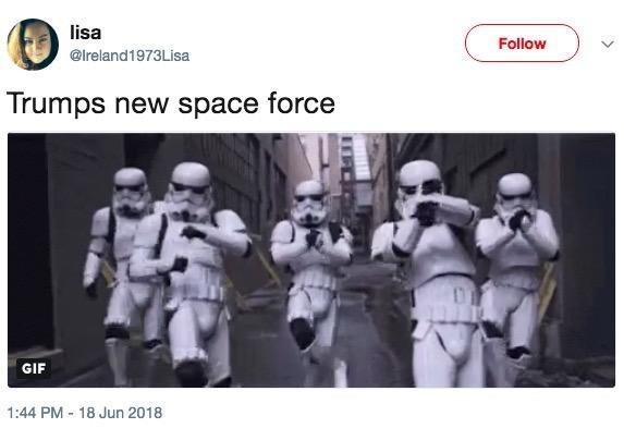 dancing stormtroopers tweeted as Trump's new space force