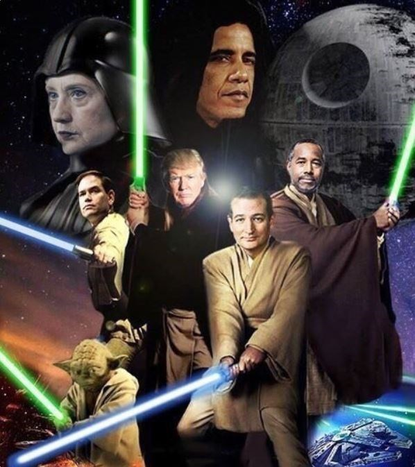 Photoshop of a Star Wars poster featuring Hilary Clinton, Barack Obama, Ben Carson, Donald Trump, Ted Cruz and Marco Rubio""
