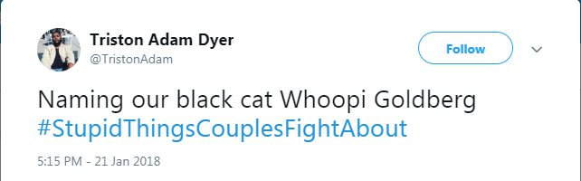 Text - Triston Adam Dyer Follow @TristonAdam Naming our black cat Whoopi Gold berg #StupidThingsCouplesFightAbout 5:15 PM - 21 Jan 2018