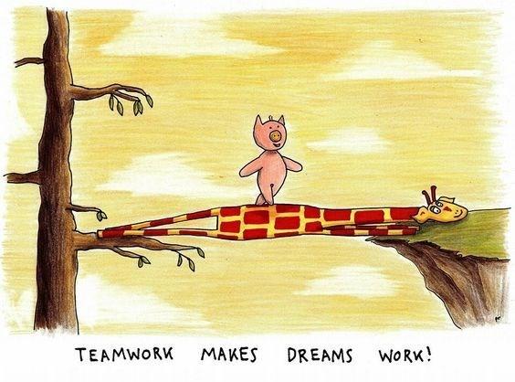 Cartoon - MAKES TEAMWORK DREAMS WORK!
