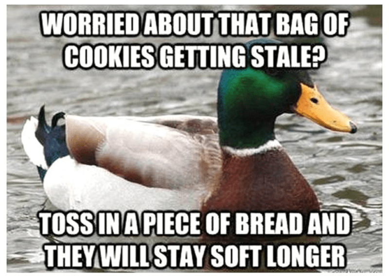 Duck - WORRIED ABOUTTHAT BAG OF COOKIES GETTING STALE? TOSSINA PIECE OF BREAD AND THEYWILL STAY SOFT LONGER