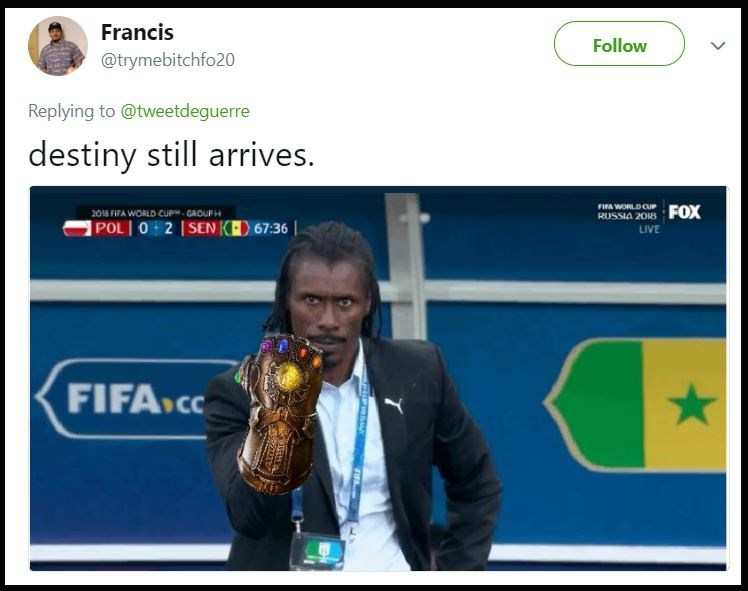 "Aliou with a Thanos hand-thing with the caption, ""Destiny still arrives"""